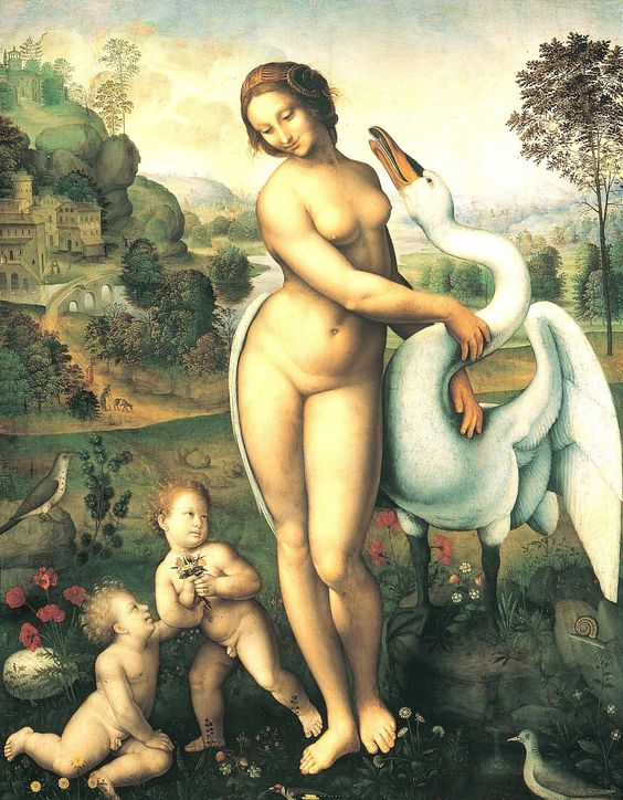 Leonardo da Vinci. Leda and the Swan
