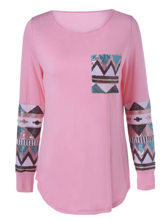 Single Pocket Sequined Decorated T-Shirt