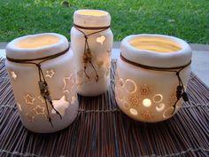 frascos decorados con porcelana fria
