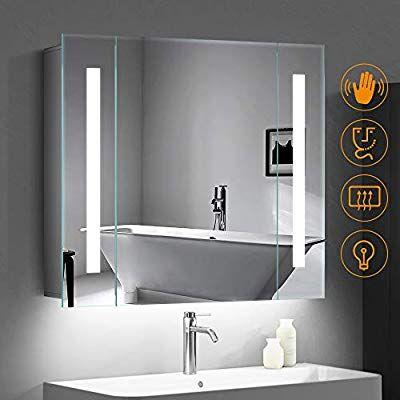 Quavikey 650 X 600mm Led Illuminated Bathroom Mirror Cabinet Aluminum Bathroom Mirror With Shaver Socke Bathroom Mirror Cabinet Mirror Cabinets Bathroom Mirror