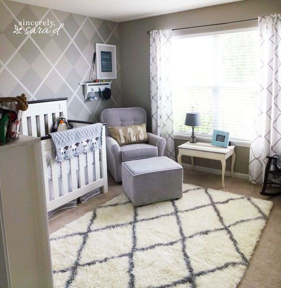 Adorable boy nursery with argyle painted wall.