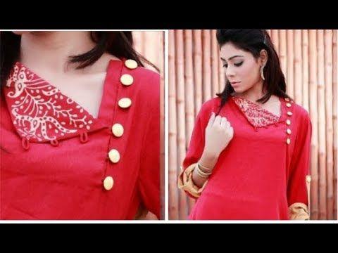 Chudidar Neckline One Side Open Pattern Easy To Make Tamil Kurti Neck Designs Dress Neck Designs Gala Design