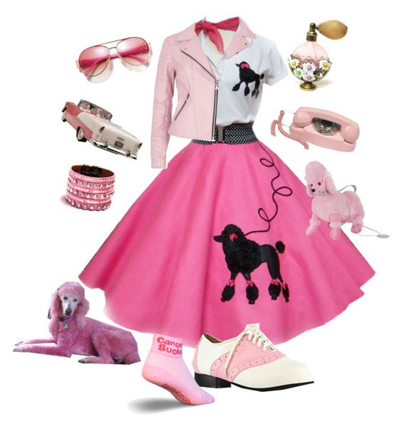 """1950s pink day 5"" by tdelgado ❤ liked on Polyvore featuring Viktor & Rolf, River Island and Avon"