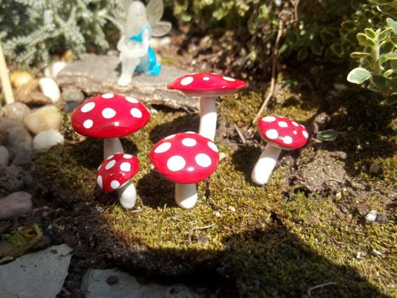 miniature set of 5 fairy garden mushrooms by smalloldthings, $6.50