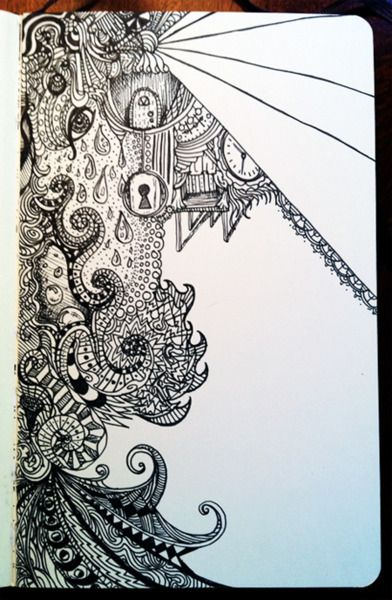 must remember to try to add a teeny bit of realism (like the door and lock) to doodles... much more interesting... LOVE this!: Zentangles Doodles, Artsty Fart, Zentangle Doodleling, Tangles Drawings, 05 Drawing, Zentangle Doodles, Doodling Zentangles