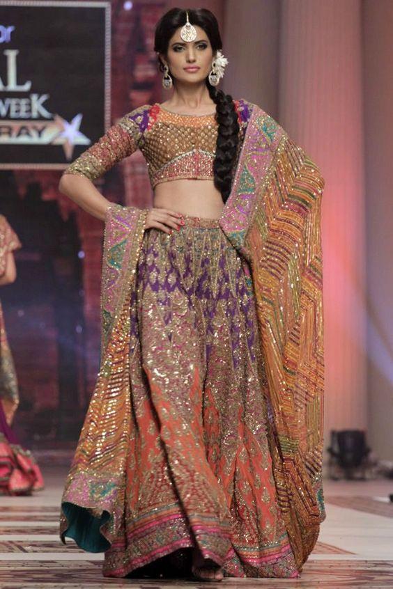 Mehndi Lehenga For Bride : Multi color bridal mehndi dress indian oriental