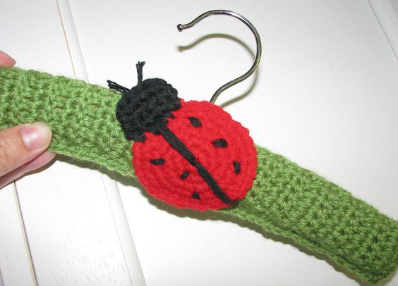 Ladybug Crochet Hanger/Baby Hanger/Decorative/Room Decor/Doll Clothes/Baby Gift. $8.00, via Etsy.