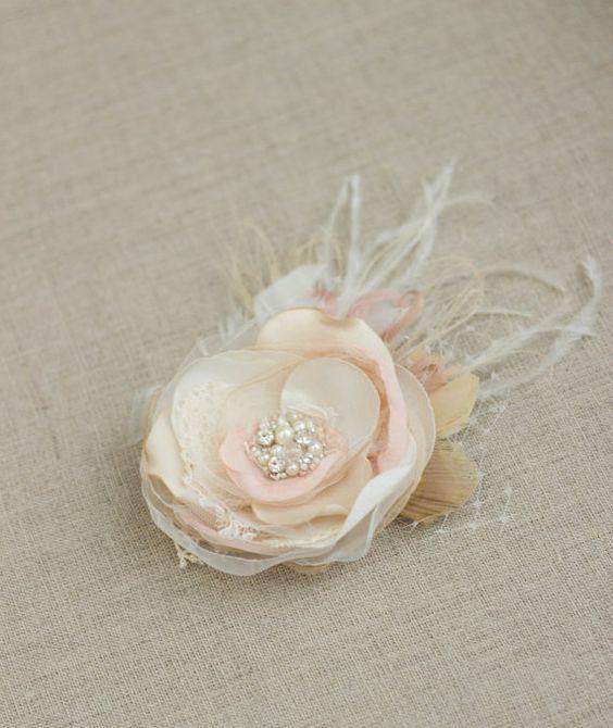 Erröten Sie Haar Blume Fascinator Hochzeit Hochzeits von LeFlowers