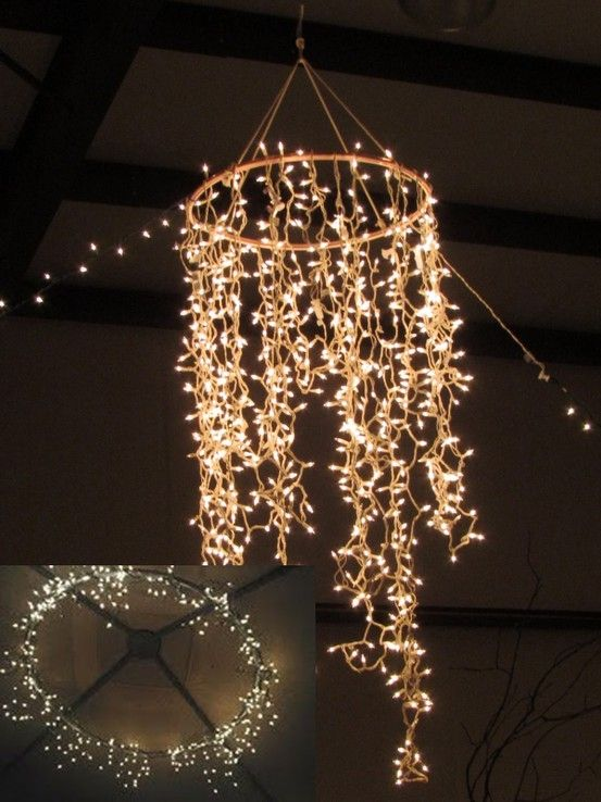 16 Clever DIY Lighting Project Ideas To Get The Best Dorm Room Ever | Hula hoop chandelier Clever diy and Hula hoop & 16 Clever DIY Lighting Project Ideas To Get The Best Dorm Room ...