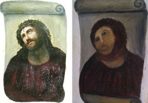 El antes y el después del 'Ecce Homo'.