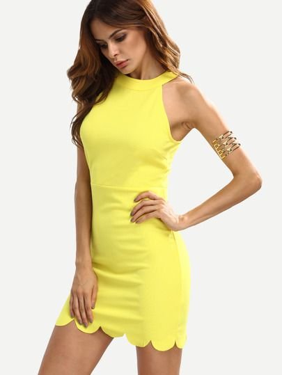 Shop Yellow Mock Neck Sleeveless Bodycon Dress online. SheIn offers Yellow Mock Neck Sleeveless Bodycon Dress & more to fit your fashionable needs.