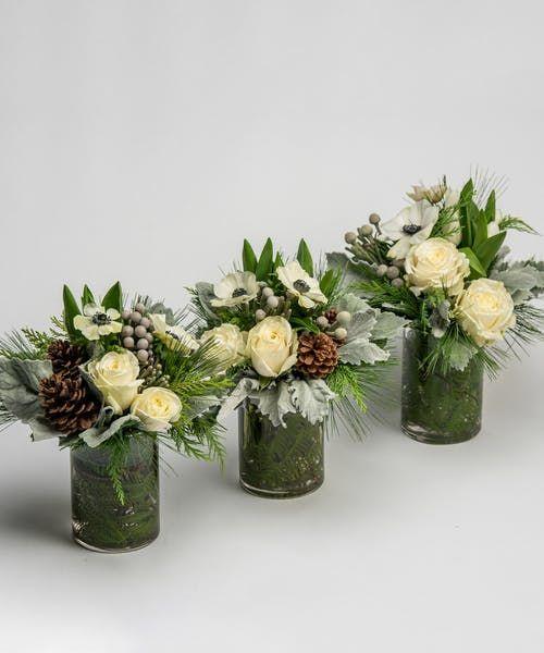 Snowcaps Trio Centerpiece Christmas Floral Arrangements Christmas Flower Arrangements Holiday Flower Arrangements