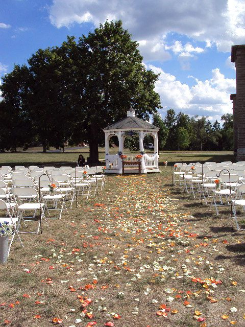 Lovely outdoor wedding ceremony at the Schindler Banquet Center -Dayton, OH