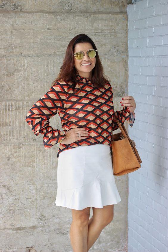 Audrey Pessoa Assessora de Moda: Look de trabalho: estampa geométrica + branco