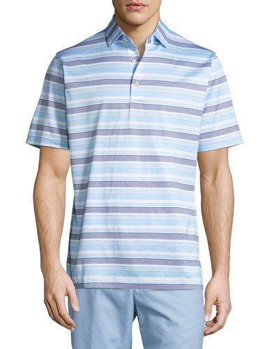 Johnson Striped Cotton Lisle Polo Shirt, White/Blue