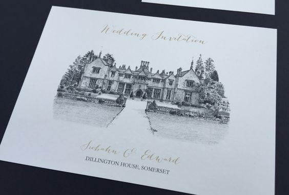 INVITATION:  A sample of an invitation from our illustrated wedding stationery range featuring the amazing venue of Dillington House, Somerset, England. We specialise in sketching your venue and using it as a theme throughout the collection.. A bespoke service where we can co-ordinate with your own wedding colour theme or keep to classic white/cream/gold effect. You have a  choice of font styles and wording.  Unique, Timeless & Designed Especially for you!