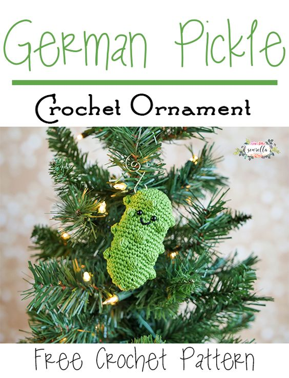 Free Crochet Pattern For Christmas Pickle : German Pickle Crochet Ornament 25 Days of Christmas ...