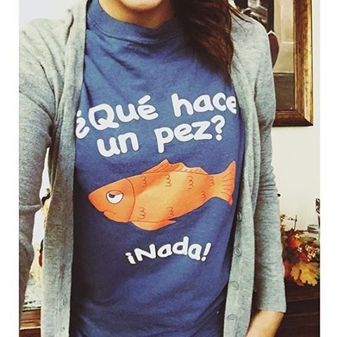 "@missjennsx3 is looking good rocking our new ""Que Hace un Pez"" tee. Get your own exclusively at SpanishTeacherShop.com #SpanishTeacher #spanishtribe #fashion #moda"