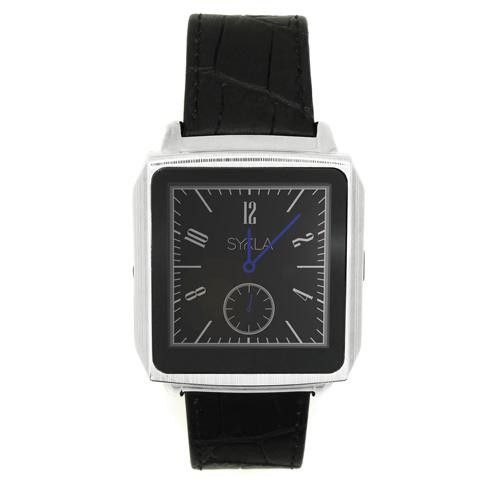 Sykla M1 Smart Watch Silver with Black Gator Skin Leather Band