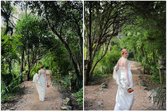 This whimsical pathway filled with greenery and nature is the perfect location for any bridal shoot, truly encompassing the culture and magic of Austin! l Photography by Jenny DeMarco www.jennydemarco.com | Laguna Gloria | Austin, Tx | Contemporary Austin