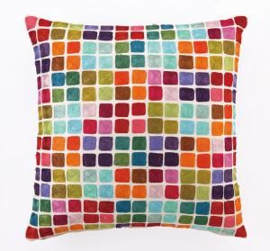 Colorful Squares Embroidered Pillow. Product in photo is from www.wellappointedhouse.com