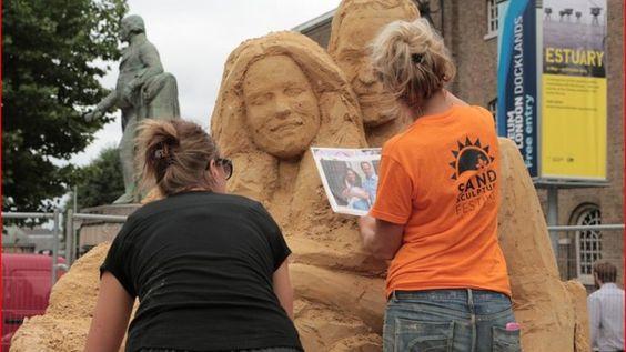 Nicola and Susanne working on the sculpture Credit: Brighton Sand Sculpture - ITV News
