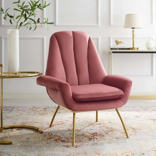 Blush Dusty Rose Velvet Modern Accent Arm Chair Accent Arm