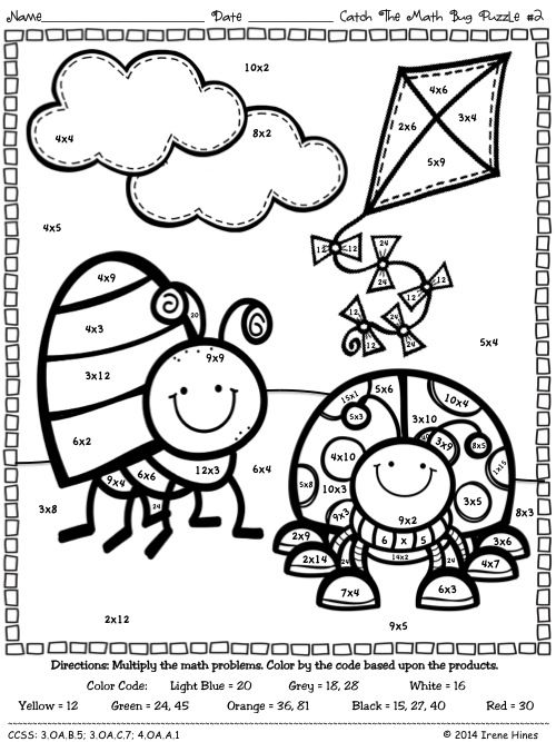 Multiplication catch the math bug color by the code for Coloring pages with multiplication facts