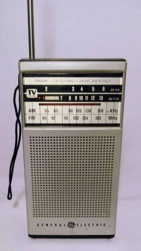 General Electric Transistor Radio Tv Sound Am Fm 24 Hr Weather Untested Tv Sound Transistor Radio Weather Radio