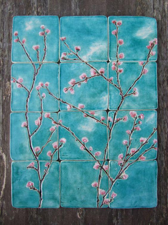 Tazón de cerámica cereza flor turquesa rosa por damsontreepottery