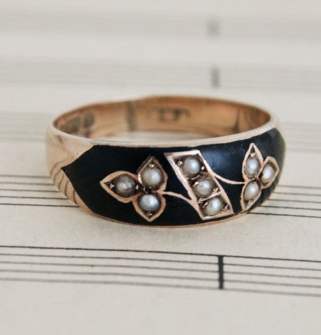 Enamel and Seed Pearl Memorial Ring. $450