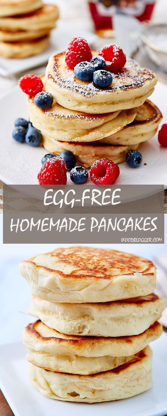 Five Ingredient Super Easy Homemade Pancakes Without Eggs Fluffy And Airy Texture Easy Homemade Pancakes Homemade Pancakes Without Eggs Best Pancake Recipe