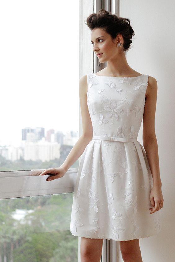 vestido de noiva curto - opção elegante para casamento diurno ou somente para o civil: