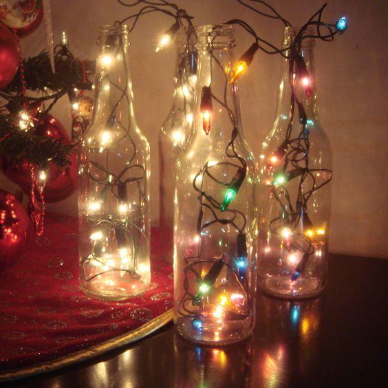 Pisca Pisca Para Colocar No Quarto ~ Enfeite para o natal  garrafas de vidro e luzes de natal (pisca pisca