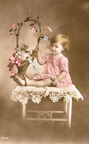 Vintage Postcard ~ Baby w/ Flowers