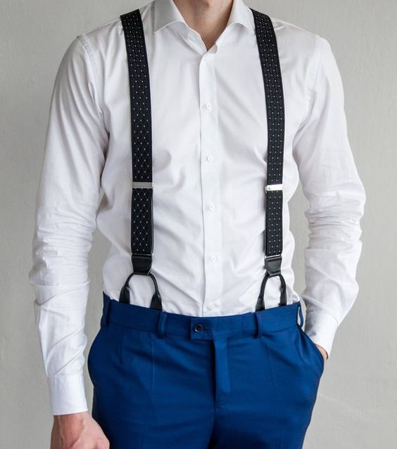 Black polka dot suspenders with button ends Men's button