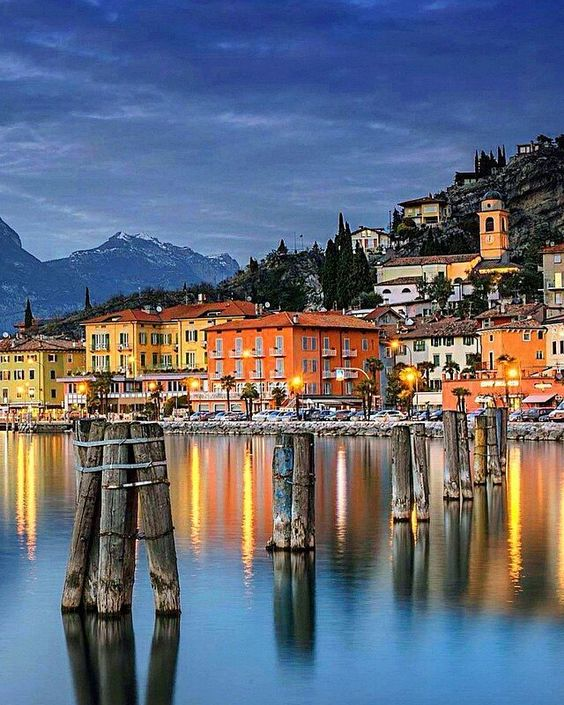 Beautiful colors of Torbole, Lake Garda in Italy:
