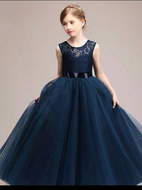Azul Marino Vestidos Largos Para Niñas Vestidos De Niña