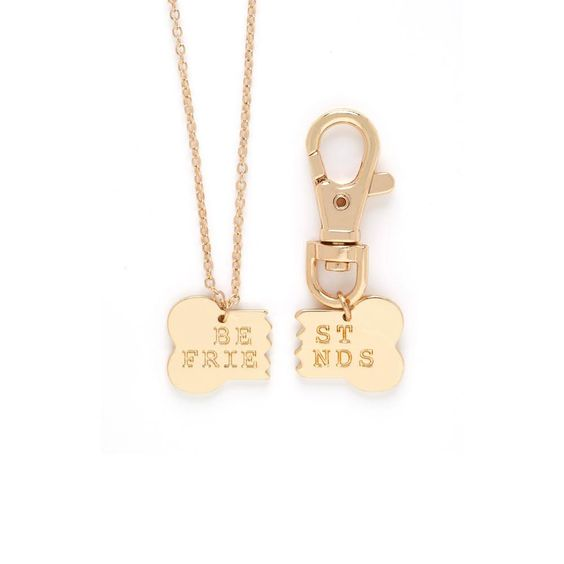 """CAMERON ROSE FOR DOG: DOG BONE """"BEST FRIENDS"""" CHARM NECKLACE AND COLLAR"""