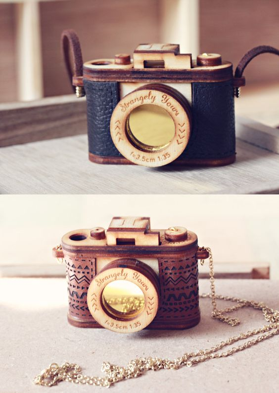 3D Wood and Leather Camera Necklace- Aztec Red, Brown - Vintage replica