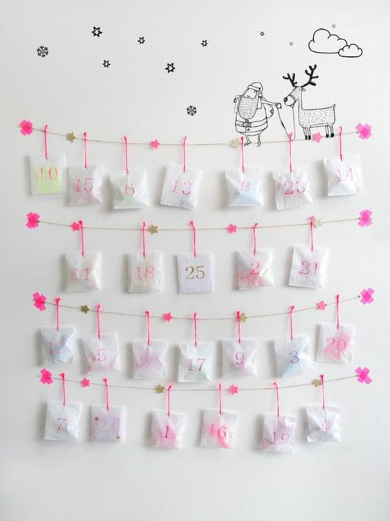 diy adventskalender basteln einfach wanddeko ideen xmas. Black Bedroom Furniture Sets. Home Design Ideas