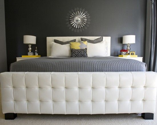 Tufted leather bed
