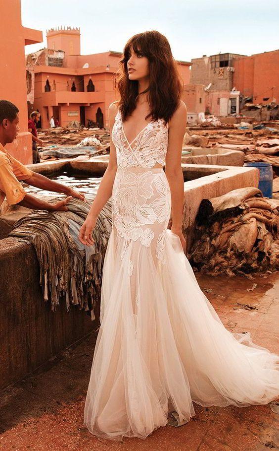 Liz Martinez French lace romantic tulle wedding dresses