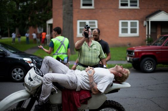 Ryan Gosling takes a quick rest from a hard day of motorycycle riding on the set of THE PLACE BEYOND THE PINES.