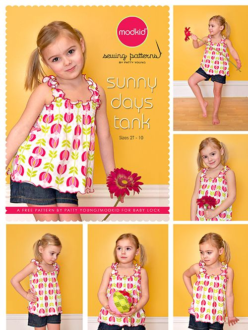 FREE sunny days tank pattern. I made this and it's adorable. One piece of advice... Watch Patty Young's video first. It's the only place that she tells you to stitch the short sides together. (Yes, there's a picture on the pattern, but I'm used to measurements being WxL.)