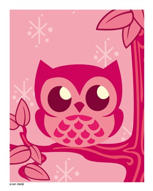 Pink owl print