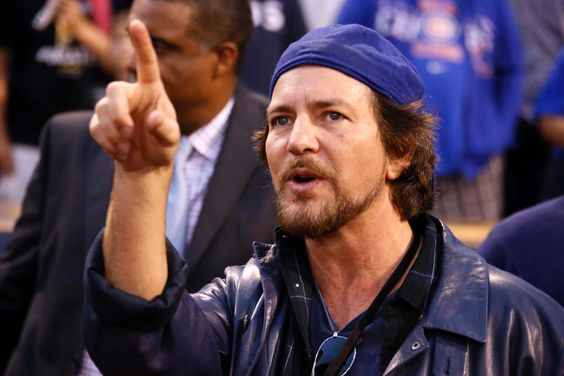 Cubs fan Eddie Vedder of @PearlJam is in Pittsburgh for tonight's #wildcard matchup.  (AP Photo/Gene J. Puskar)