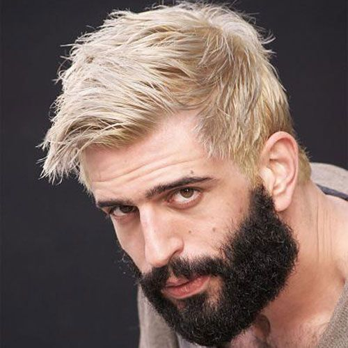 Silver Hair Dark Beard Discovered By Ultraviolence Men Hair Color Mens Hair Colour Grey Hair Dye
