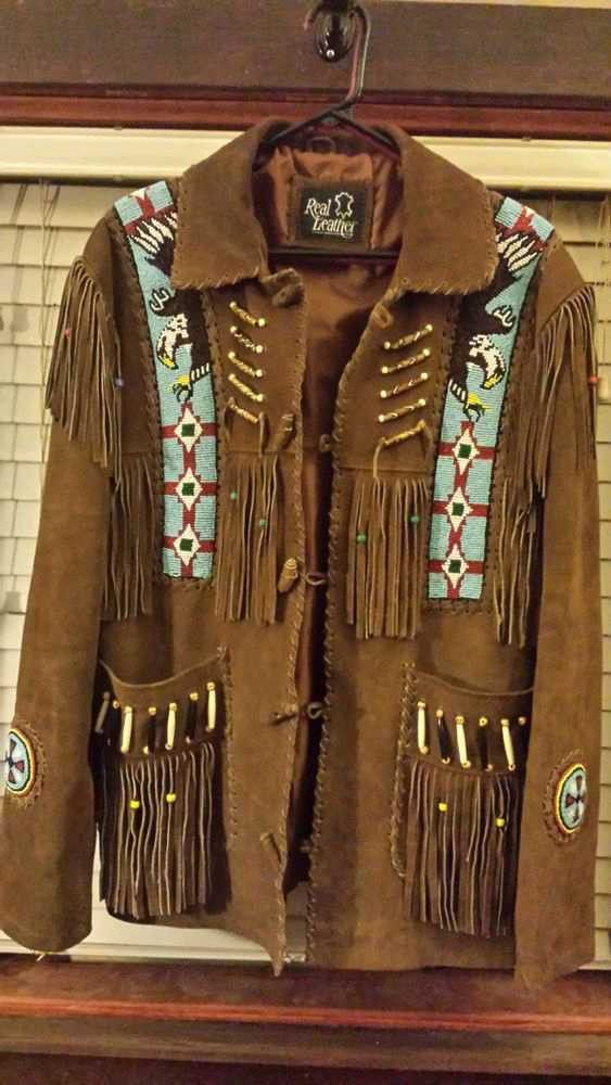 Mens New Native American Western Brown Suede Leather Jacket Fringe Tassels