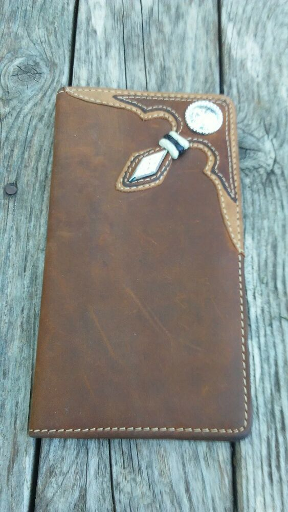 Silver Creek Western Mens Wallet Rodeo Stockyards Rawhide Conchos Brown 06399